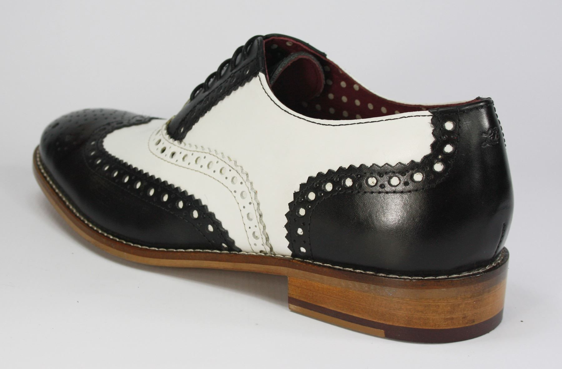 London Brogues Gatsby Lace Up Shoes Black White